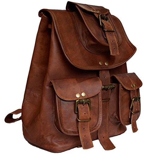 Vintage a mano in vera pelle di capra nascondere zaino scuola borsa da uomo da donna marrone