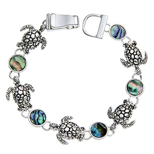PammyJ Turtle Bracelet Turtle Charms with Abalone Inlay and Magnetic Closure