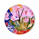 PotteLove 12 Inch Silent Vintage Wooden Round Wall Clock Non Ticking Quartz Battery Operated, Pink Tulip Flowers White Numbers Rustic Chic Style Wooden Round Home Decor Wall Clock