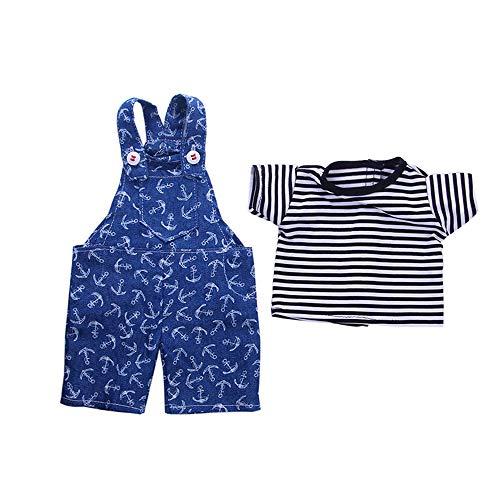 Uteruik Puppenkleidung für 46 cm American Girl Puppe Casual Outfits – T-Shirt und Latzhose, Kostüm-Zubehör, 2 Stück/Set Style-c