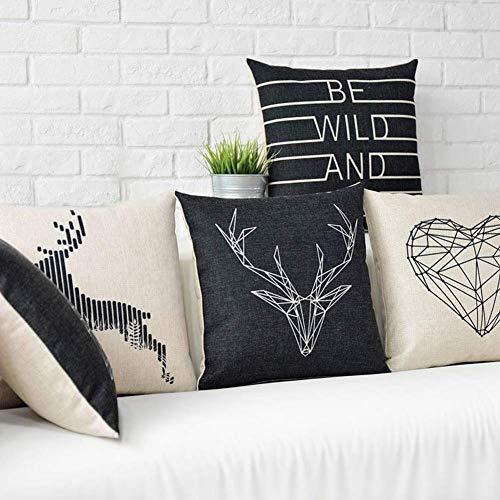 JoyRolly Ciervo Animal corazón Letra Lino Funda de Almohada cojín decoración 1# 3#