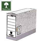 Bankers Box 11805 - Caja de archivo definitivo automático, folio, lomo 120 mm, gris jaspeado