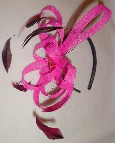 étroit satin noir serre-tête avec boucle ruban et fascinator à plumes en divers couleurs - Rose