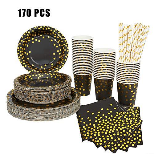 170 piezas Paquete de fiesta decoraciones para fiestas, plato de postre taza de fiesta taza de fiesta taza de fiesta de oro negro, fiesta de cumpleaños baby shower (30 visitantes)