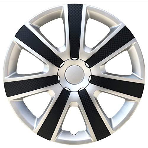 Upupto Configure Las Mezclas De Llamadas 13/14/15 Pulgadas Carbon Look 4Pcs, Universal para Todos Los Cordones De Acero del Automóvil/Furgoneta Hubcaps, Recortes De Ruedas Premium Cubiertas,14inch