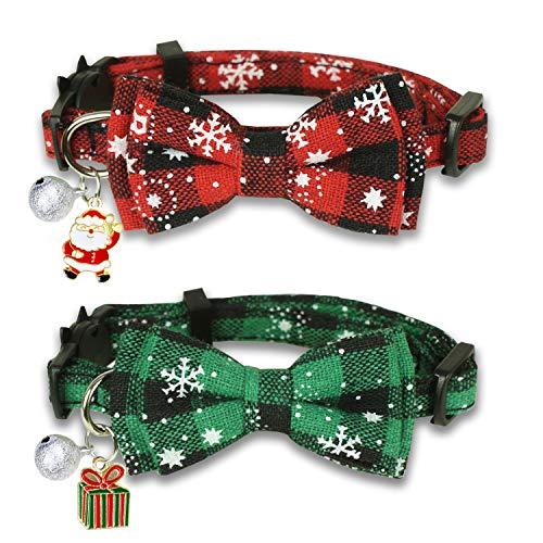 Pohshido Weihnachtliches Katzenhalsband mit Fliege und Glöckchen, für Mädchen und Jungen