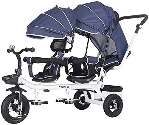 GST Dreiräder Kinder 4 in 1 Trike Kinder Dreirad Doppelsitze für Zwillinge, Baby Infant 3 Räder Kinderwagen Bike mit Baldachin & Korb (Color : B)