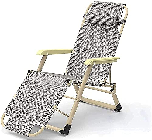 SHKUU Folding Reclining Portable Chair, Anti Gravity Chair Metal Sun Lounger Garden Recliner Chairs Folding Sunbed,178 66 32Cm, 150 Kg MAX.Zero Gravity Chair with Breathable Synthetic Fabric