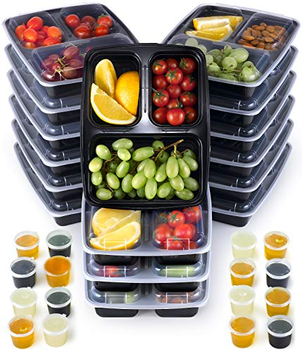 Meal Prep Containers im 16er-Pack | 950ml Essensbox in Schwarz | Essensboxen | Meal Prep Boxen | Stapelbar, Wiederverwendbar, Spülmaschinenfest, Mikrowellen-, Gefrierschrankgeeignet