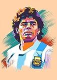Coobals Fotos de decoración de pared de fútbol Diego Maradona pintura e impresiones en la pared decoración del hogar (sin marco, 50 x 76 cm)