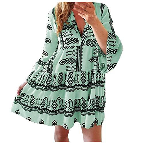 YANFANG Vestido Bohemio para Mujer, de Falda Larga Estilo de Estilo Festivo con TNICA Azteca Elegante Casual, XL,Green