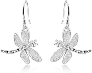 Catwalk Sterling Silver 925 Women's Vivid Animals Small Dragonfly Pendant Drop Earrings