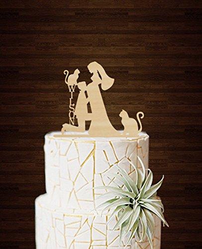 Funny Hochzeit Kuchen Topper Groom Kiss Schwangere Braut personalisierbar mit 2Katzen