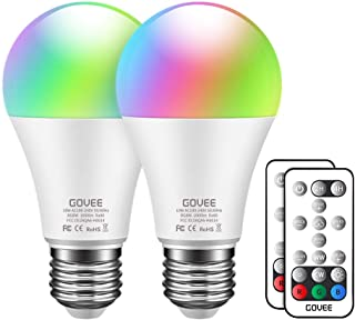 Govee RGB Color Changing Light Bulbs, Dimmable 75W Equivalent LED Light Bulbs with Remote, 10W A19 E26 Screw Base Multicolor Decor Mood Light for Bedroom, Stage, Party and More (2 Pack)
