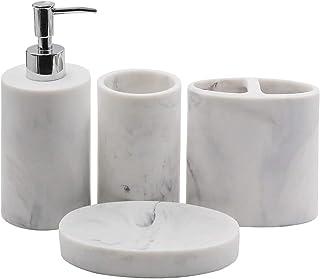 Ulable Lot de 4 accessoires de salle de bain avec distributeur de savon/porte-brosse à dents, gobelet/porte-savon