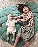 WKITCHENMAT Blätter Baby Krabbeldecke Matt,Bodenmatte/Spielmatte Baby,Krabbeldecke Groß und Weich Gepolstert,Pink