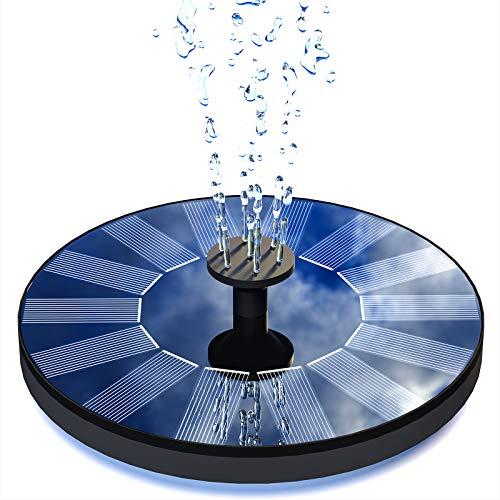 Senders Solar Springbrunnen, Solar Teichpumpe Garten Wasserpumpe mit 1,0W Monokristalline Solar Panel Brunnen Solar Schwimmender Fontäne Pumpe für Gartenteich Oder Springbrunnen Teich Fisch-Behälter