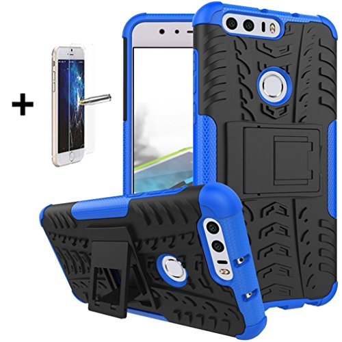 Huawei Honor 8 Case Cover Accessories - ISADENSER Hybrid Tough Rugged Dual Layer Armor Protective Case with Kickstand for Huawei Honor 8, Hyun Blue