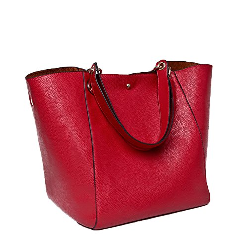 Valleycomfy Damen Tasche Einkaufstasche Pu Leder Handtasche Schultertasche (Rot)