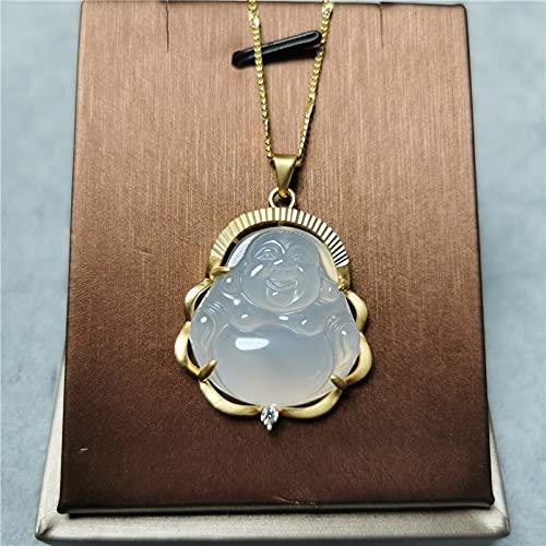 YANGYUE Collares con Colgantes de Buda de Jade Blanco Natural, Collar de Plata de Ley 925 con Piedras Preciosas, joyería Fina Vintage para Hombres y Mujeres