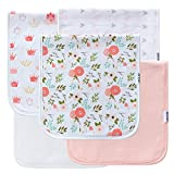 5-Pack Baby Burp Cloth for Girls, 100% Organic Cotton, Triple Layer, Thick, Soft and Absorbent , Burping Rags for Newborns Baby Shower Set by LNGLAT