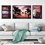 Coconut Palm Tree Pink Beach Sea Wall Art Canvas Painting Nordic Posters and Prints Take Away Wall Picture For Living Room Decor 40x60cmx2...