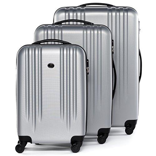 FERGÉ Kofferset Hartschale 3-teilig Marseille Trolley-Set mit Handgepäck 55 cm 3er Set Hartschalenkoffer Roll-Koffer 4 Rollen Silber