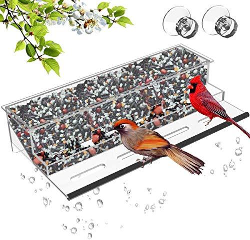NIUXX Vogelhäuschen,vogelhaus Fenster saugnapf, Futterspender für Wildvögel Durchsichtiger Fenster Vogelfütterer Großer Acryl Vogelfutterspender Vogelfutterstation(30x15x5cm)