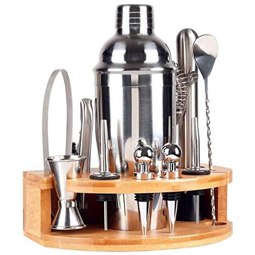 LKYBOA Juego de 12 piezas de barman con soporte de acero inoxidable para coctelera Martini Shaker Jigger Colador Bar Mezclador Cuchara