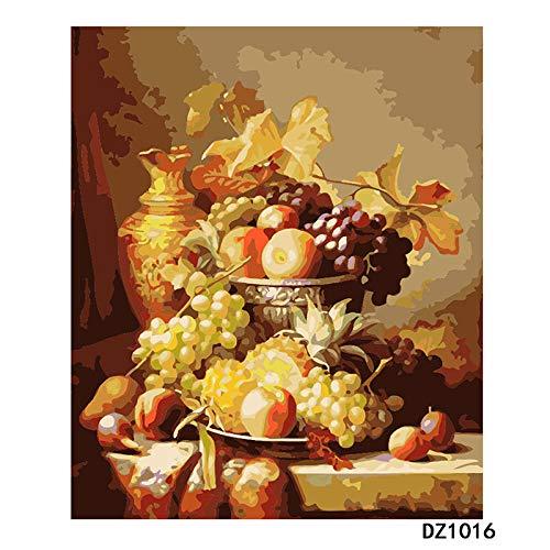 LWQHJJJ Adultos Y Niños Mediante Pintura Digital Diy Principiante Pintura Al Óleo Set De Regalo Lienzo Preimpreso Artista Decoración Del Hogar-Naturaleza Muerta Fruta 16 * 20 Pulgadas (Enmarcado)