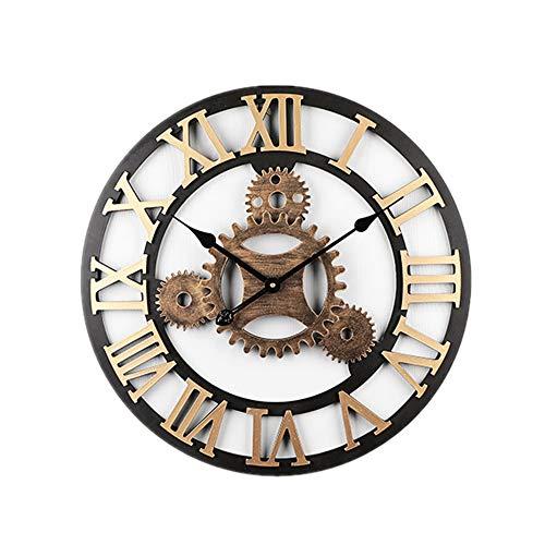 LUOYLYM American Creative 58 cm Mute Wanduhr Holz Kreative Römische Wanduhr Wohnzimmer Bürouhr Uhr