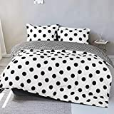 FLXXIE 2 Pieces Microfiber Duvet Cover Set, Ultra Soft Black and White Polka Dots Print Zipper Closure Comforter Cover Set with Reversible Design, Twin