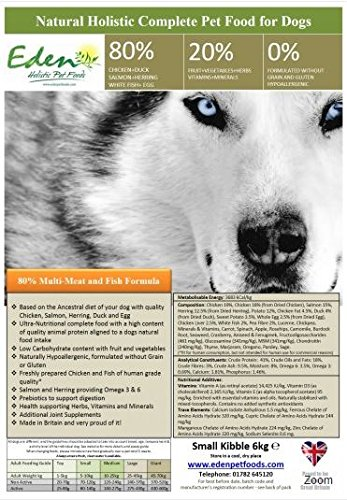 Eden Hundefutter für Arbeitshunde, 80: 20Fleischmischung und Fisch, 15kg, nur Medium-Trockenfutter