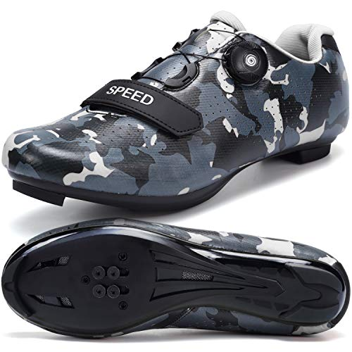 SWISSWELL Men's Road Cycling Shoes Compatible Mountain Bike with SPD/SPD-SL & Lock Cleats & Fast Rotating Buckle (Camouflage Grey,9.5)