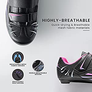 OutdoorMaster Cycling Shoes Unisex Cycling Riding Shoes Peloton Road Bike Shoes with 2 Cleat Compatible with Indoor Pedal of Delta/SPD/Look X-Track Outdoor for Men Women Racing Bicycle Shoes
