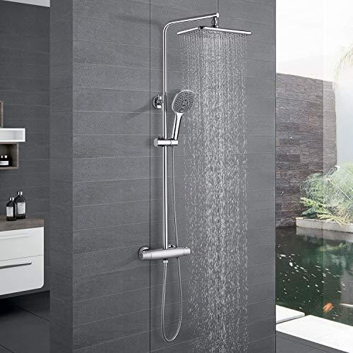 WOOHSE Duschsystem mit Thermostat Duscharmatur Regendusche Duschset mit Kopfbrause Eckig 3 Strahlarten Handbrause und Höhenverstellbarer Duschstange Edelstahl für Badewannen