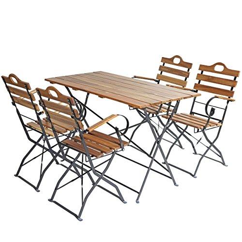 Mendler Biergarten-Garnitur Graz, Bistro-Set Garten-Set, klappbar, Akazie lackiert ~ Natur
