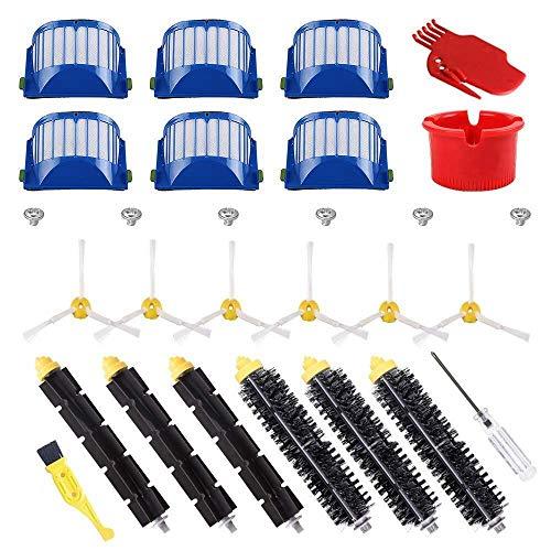 NICERE Recambios para aspiradora de cerdas y cepillo flexible y armado-3 cepillo lateral y filtros para 600 Series 614 620 630 650 660 665 690 accesorio para aspiradora