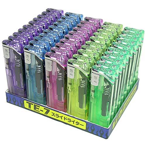 スライド電子ライター 50本 使いやすい 信頼の東京パイプ社製 ガスライター おしゃれ 使い捨てライター