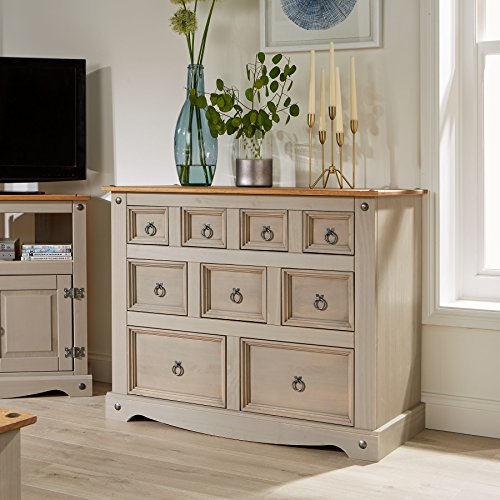 Home Source Grey Corona Chest of Drawers Pine Sideboard 9 Drawer Merchant Cabinet Distressed