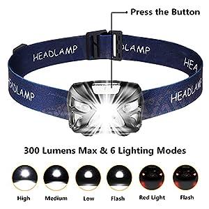 Linterna Frontal LED USB Recargable 1200mAh, Linterna Cabeza 8 Modos Sensor de movimiento, Frontal LED Impermeable IPX4 300LM 6000K, Adecuados para Correr, Acampar, Montañismo, Carrera, Ciclismo