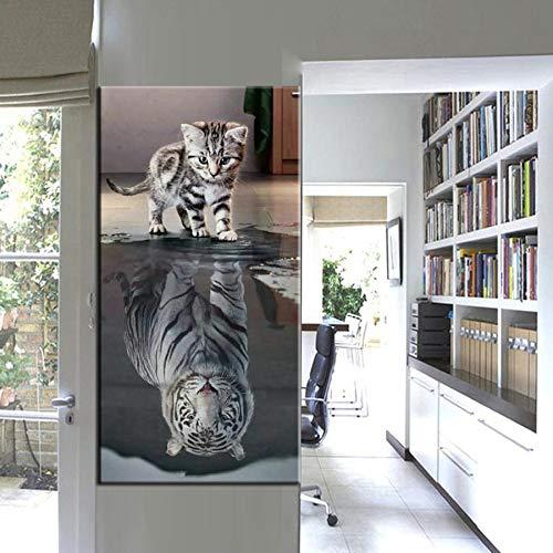 DIY Pittura Diamante 5D Kits Completo Grande Gatto e Tigre Diamond Painting Cristallo Ricamo Punto Croce for Home Wall Decor 80x220cm X792