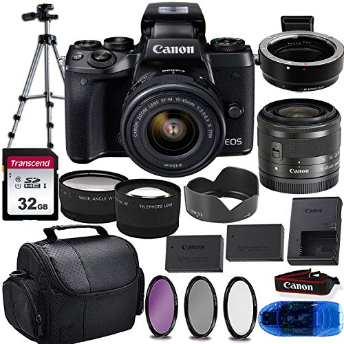 Canon EOS M5 Mirrorless Digital Camera & 15-45mm STM Lens w/EOS M Mount Adapter + 32GB Transcend Memory Card, Shoulder Bag & Essential Accessory Bundle