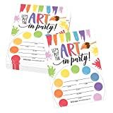 25 Art Rainbow Paint Splatter, Color Palette Kids Birthday Party Invitations, Bright Colorful Painting Craft Themed Bday Invite Ideas, Creative Artist Girls Boys Adult Supplies, Printable Template