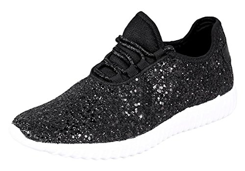 Forever Link Womens Closed Round Toe Sparkling Glitter Lace up Fitness Trainer Gym Fashion Sneakers 9 Black