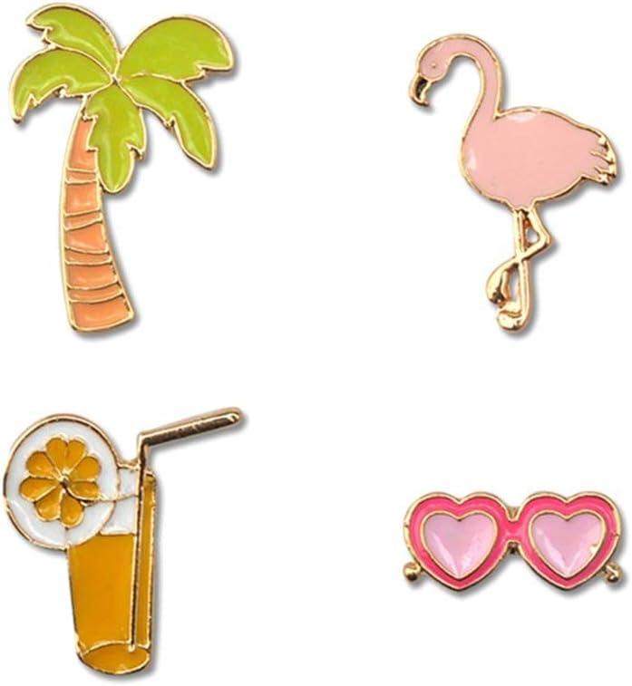 Amosfun 4pcs Enamel Lapel Pins Sets Cartoon Flamingo Coconut Tree Sunglasses Juice Cup Brooches Pin Badges Tropical Party Decoration