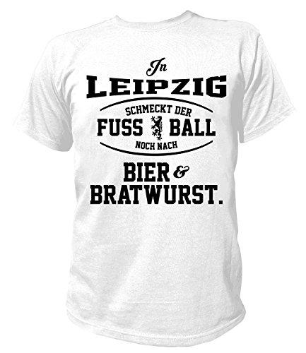 Artdiktat Herren T-Shirt - In Leipzig schmeckt der Fußball noch nach Bier und Bratwurst Größe XXXL, weiß
