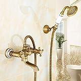 HomeLava Zweigriff Badewannenarmatur Retro Messing Wannenarmatur mit Kreuzgriffen und Handbrause Wandmontage Mischbatterie Badewanne Badewannenset