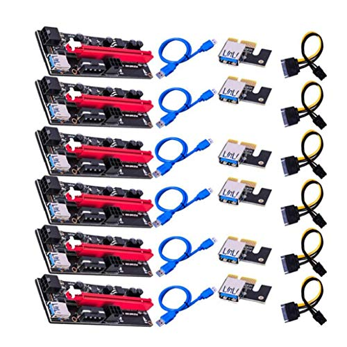 Canjerusof PCI-E-Grafikkarte Kabel-Steckkarte USB VER009S Extender-Adapter-Kabel PCI-E 1X bis 16X Verlängerungskabel kompatibel mit PCI-E Blau 6PCS