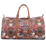Signare Tapestry Large Duffle Bag Overnight Bags Weekend Bag for Women with Strawberry Thief Red Design (BHOLD-STRD)